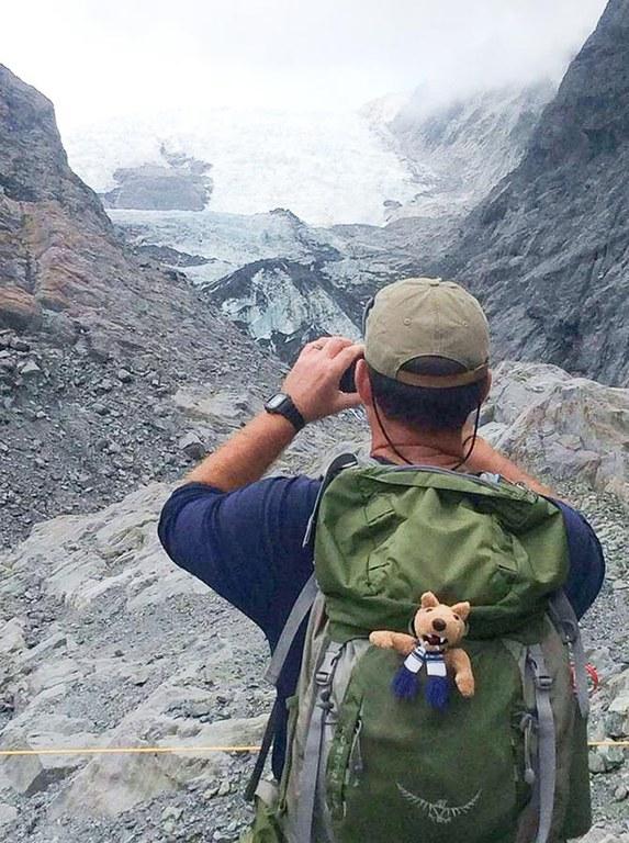 ERM student visiting the Franz Josef glacier.