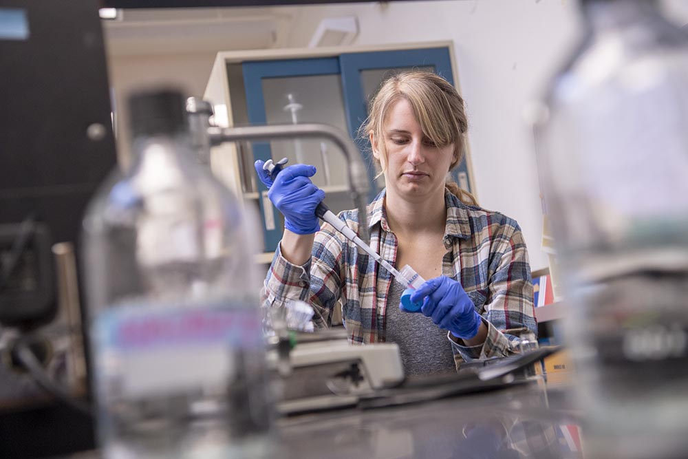 A Penn State grad working in the lab