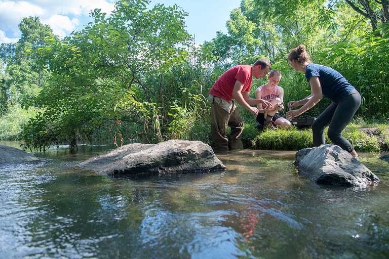 Penn State Wildlife and Fisheries students testing river water quality.