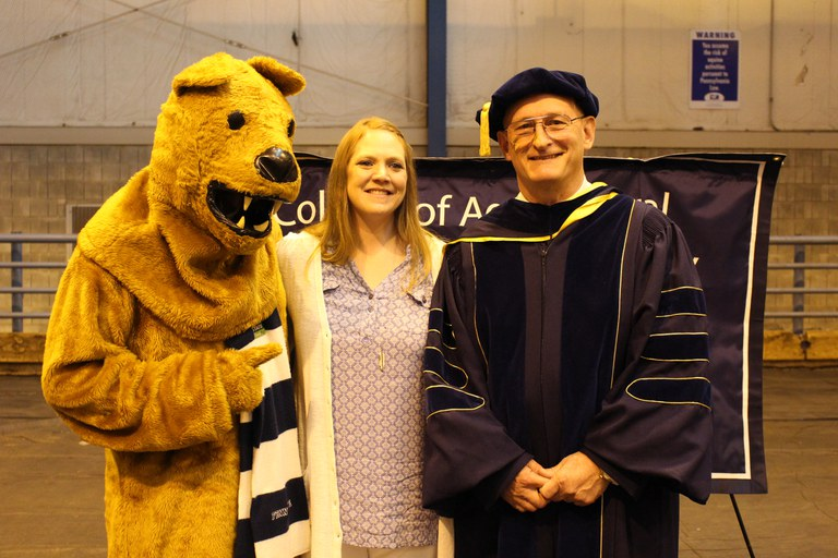 The Nittany Lion, Ms. Tarrah Geszvain, and Dean Rich Roush