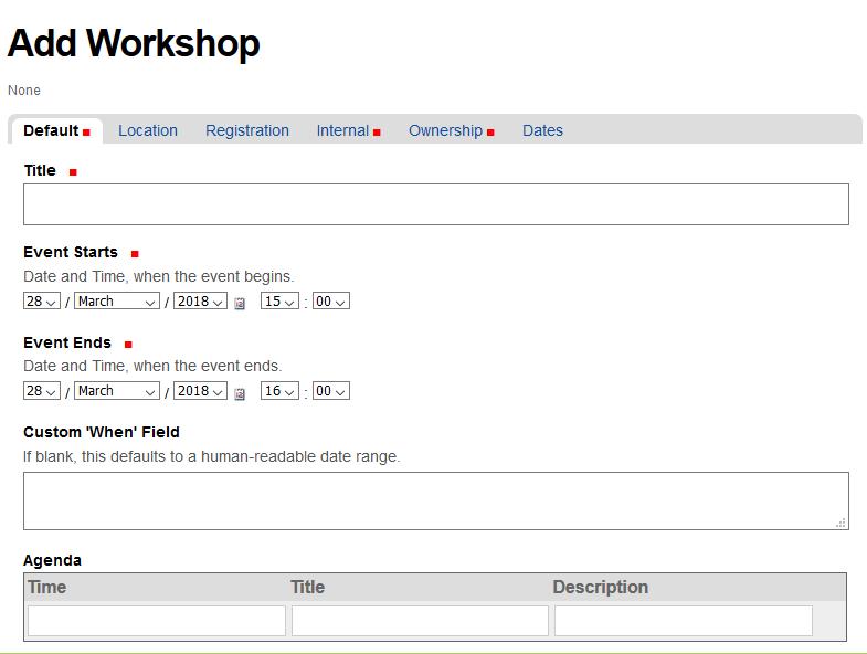 Default view of add workshop