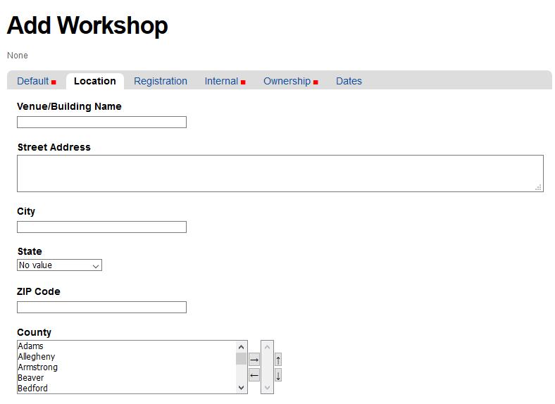 Location tab for Add Workshop