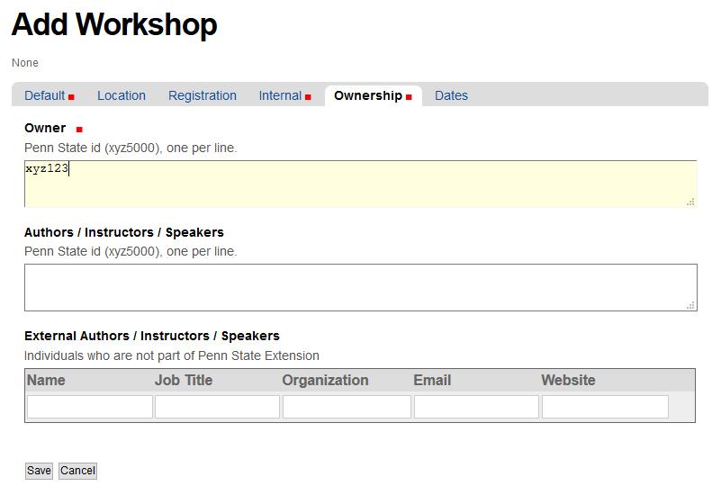 Ownership tab of Add Workshop