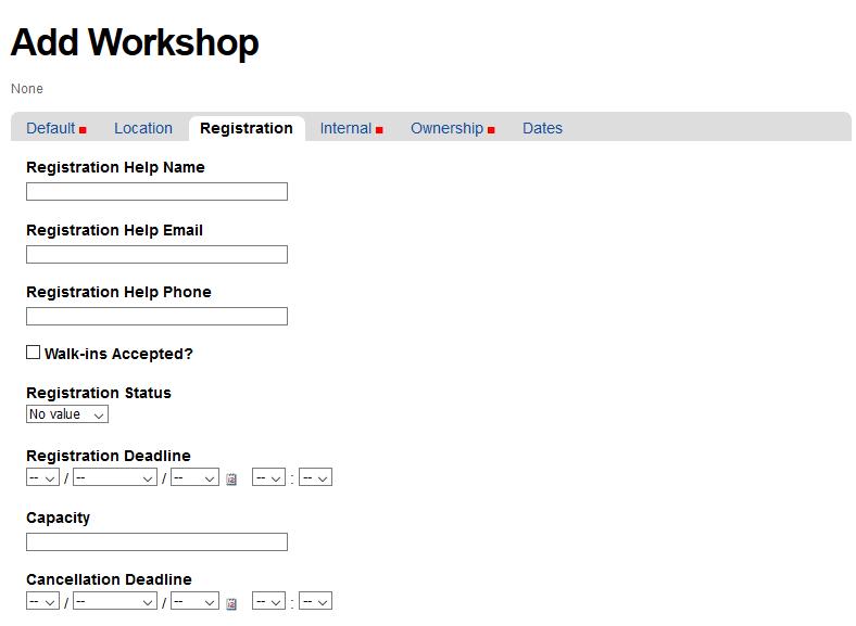 Registration Tab for Add Workshop