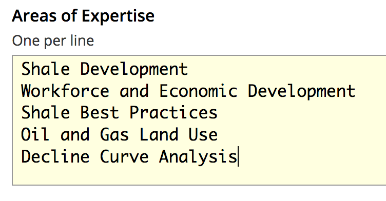 Areas of Expertise List