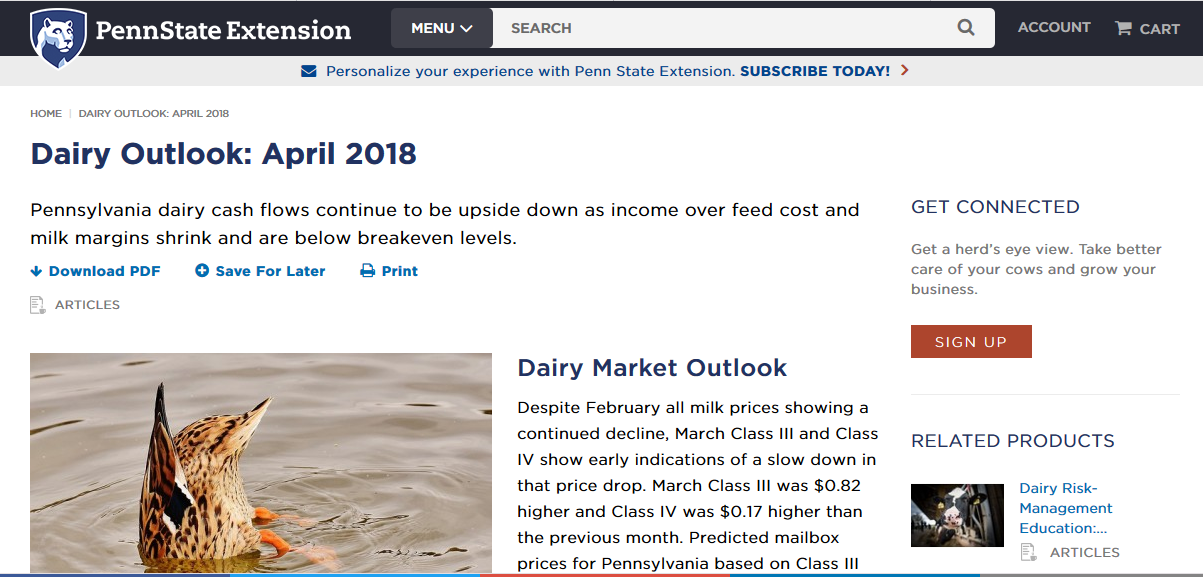Dairy Outlook April 2018