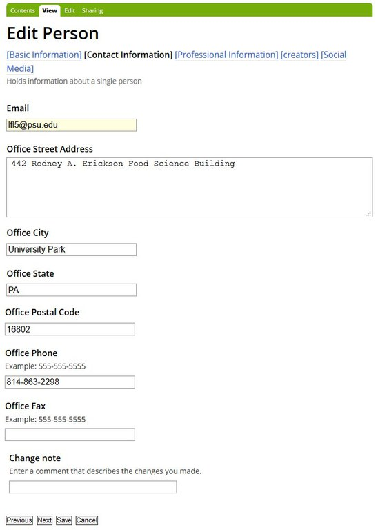 Directory Contact Information page