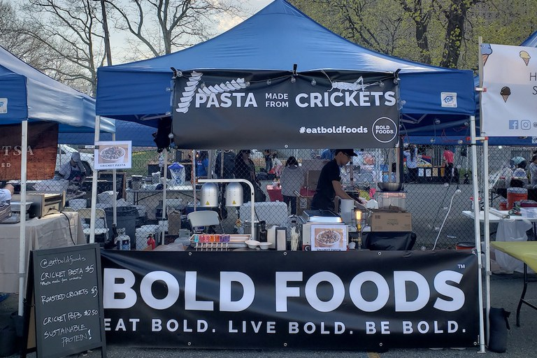 Bold Foods, winner of Ag Springboard 2017, sold cricket-fortified pasta to adventurous eaters at spring and summer festivals like the Queens Night Market celebrating diverse cuisines in New York City.