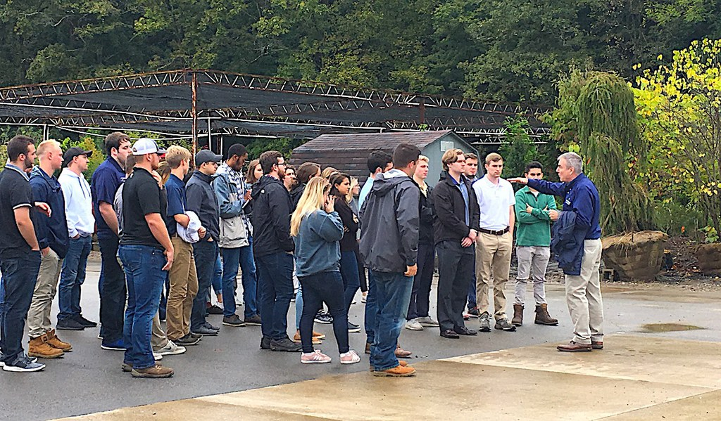 About 70 agribusiness management students toured the landscape services firm's operation and HQ in Pittsburgh during a visit in Sept. 2018. As an experiential learning case study, the students are helping Eichenlaub study whether customers will accept autonomous lawn mowers.