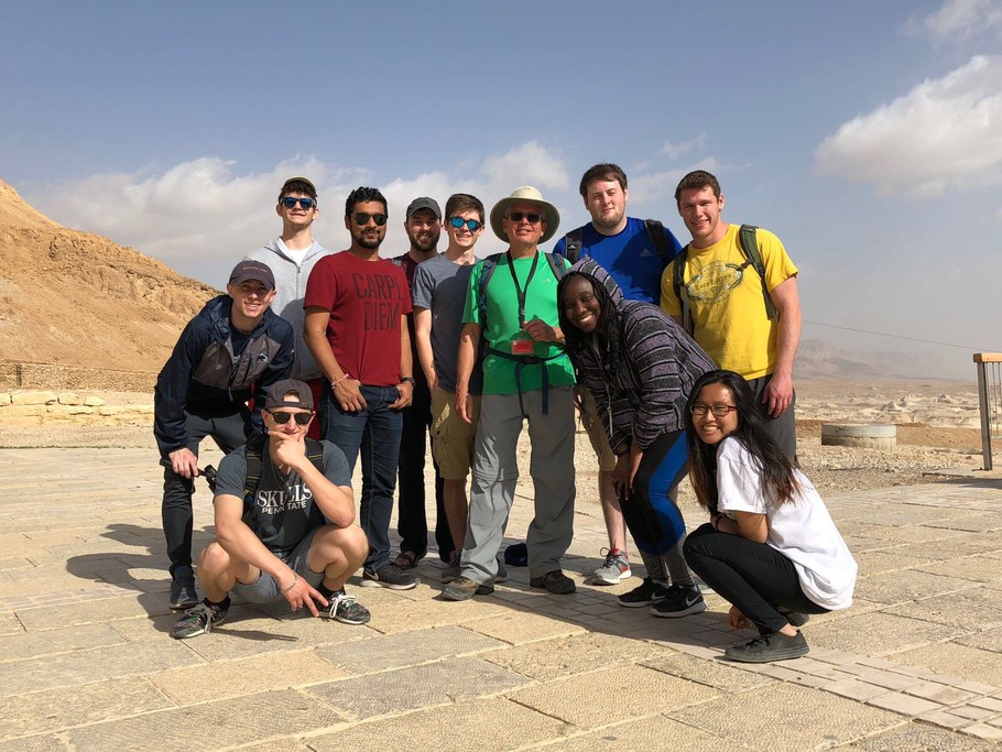PSU students with their guide in Massada during a spring break 2018 trip to Israel. Left to right: Benjamin Cutler, Griffin Brown, Michael Willis, Pranav Jain, Benjamin Kenawell, Jared Franz, Marc Coles (our guide), Gruwonyen (Tiffany) Zoe, Thomas Hannan, Aiden Smith and Tran (Tresca) Ngo. Image by Anne Hoag.