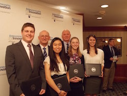 Team Saffron won second place place during Ag Springboard 2015. Students Nate Hamaker, Byron Bredael, JoAnna Hofstaedter, Alex Murdoch, and Kristen Fisher with College of Agricultural Sciences Dean Rick Roush and Earl Harbaugh, lead donor to the E&I Program. The final round of competition and awards banquet was held April 14, 2015.
