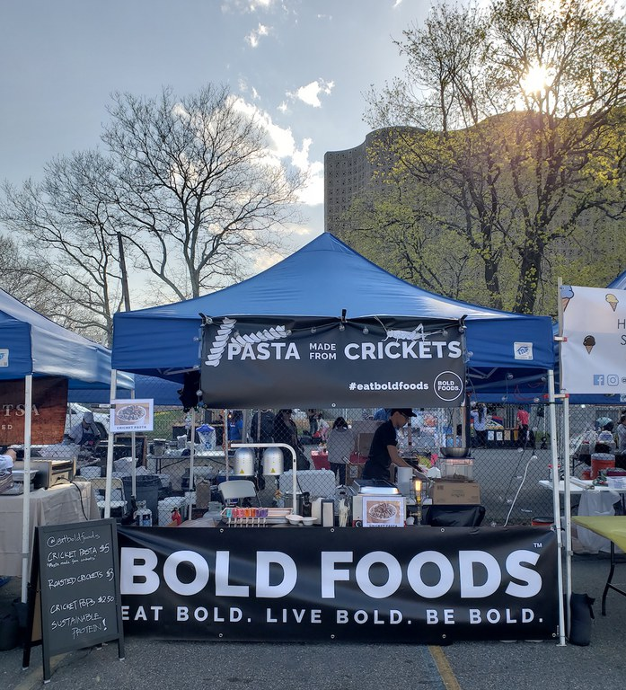 Bold Foods served crickets and pasta made with crickets at NYC markets during spring and summer 2018.