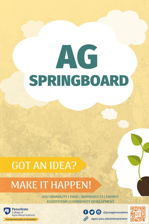 Ag Springboard Final Four Teams Compete Wednesday! Graphic design by student Cameron Callanan, a senior in the Donald P. Bellisario College of Communications.
