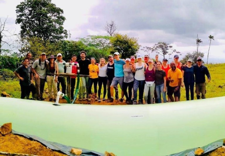 """Penn State students who traveled to Costa Rica over spring break as part of the embedded course """"Environmental Resource Management 499: Costa Rica Sustainable Agriculture and Natural Resources"""" helped a rural Costa Rican farmer build a biodigester, which"""