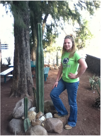 Posing by a cactus at The University of Guanajuato's Division of Life Sciences