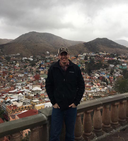 At the base of the statue of Pipila overlooking the city of Guanajuato