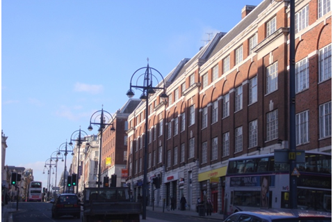 Leeds' city centre on a sunny day