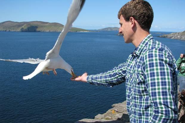 Andrew feeding the seagulls at the Dingle Peninsula