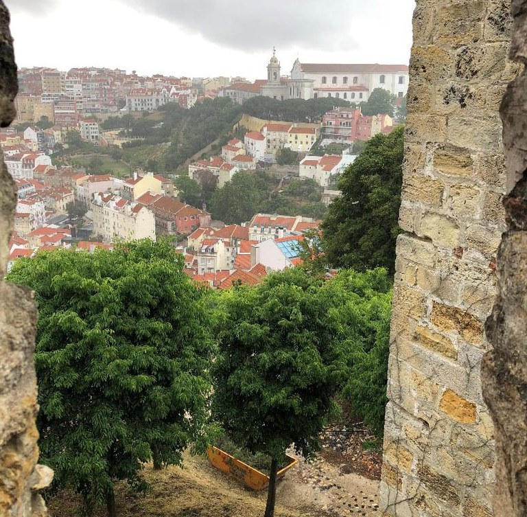 On the high parts of the Castle of Sao Jorge, seeing parts of Lisbon