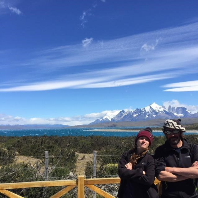Our guide, Armando and I at the final spot to see the mountains in Torres Del Paine National Park