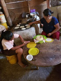 Mother and daughter are making fresh tortillas in the Maya village we lived in.