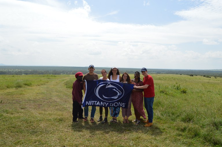 Views from the safari in the Solio game reserve. A picture of our entire group from Penn State along with our companion Sam.