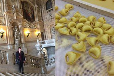 Left-Me inside the Palazzo Reale, Right-Making Tortellini in Bologna