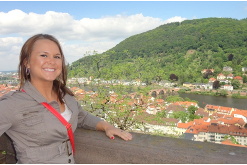 Ashley at the Heidelberg Castle with the town in the background.