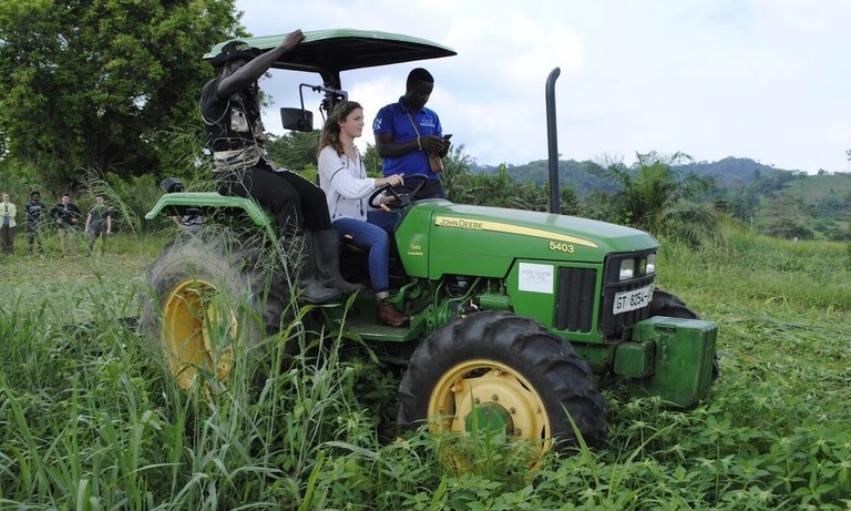 Testing out the roller crimper at the Center for No Till Agriculture outside Kumasi, Ghana