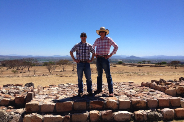 Standing at the reconstructed ruins of a pre-colonial building on top of a ridge overlooking the Bajio