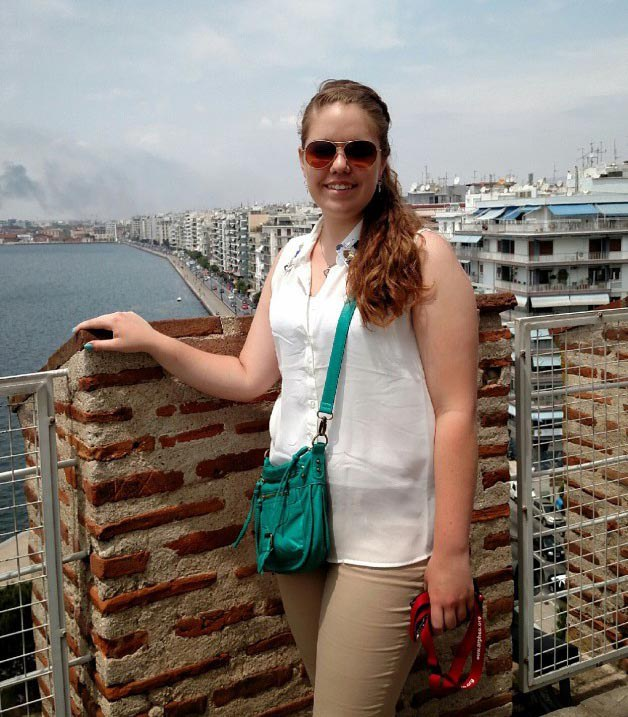 At the top of the White Tower, an iconic landmark in Thessaloniki