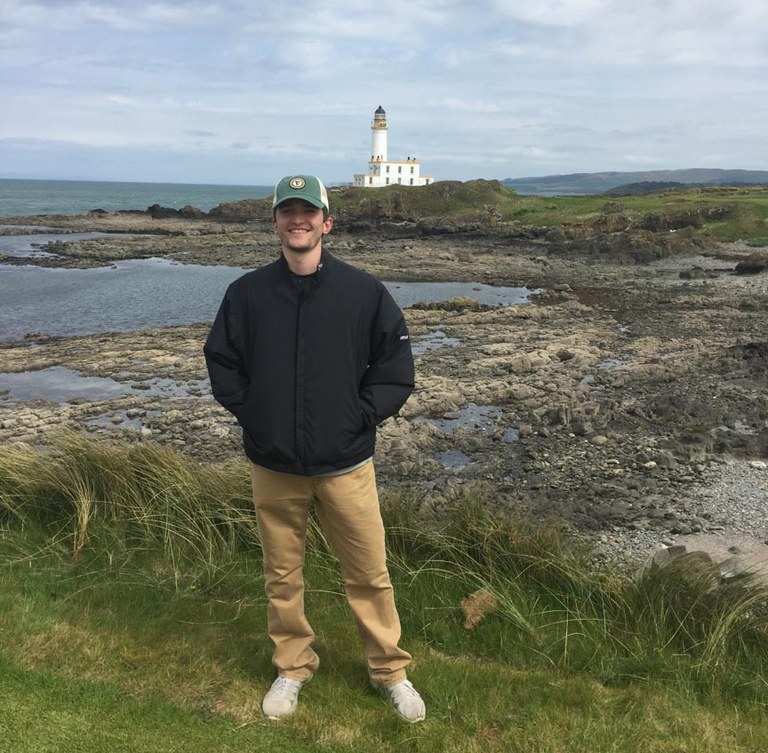 Standing on the 9th tee of Trump Turnberry in front of the historic lighthouse