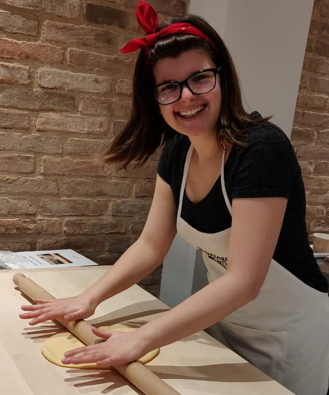 Me! In my happy place, rolling out pasta