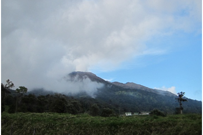 A view of Volcan Turrialba: the local active volcano near [students'] host town.