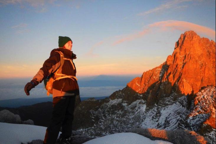 On top of the world at Peak Lenana of Mount Kenya on Easter Morning