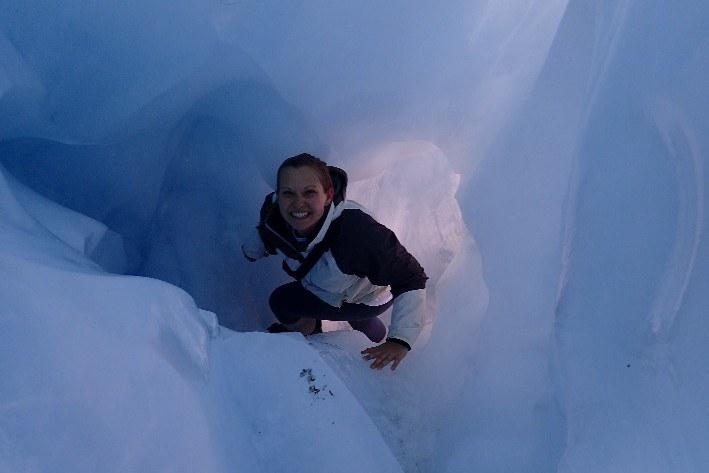 Crawling through an Ice Cave on Franz Josef Glacier