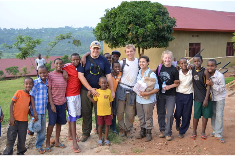 Arianna with Penn State Altoona partners and students from the Star School, Rwanda