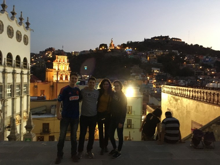 A few of the PSU students and I with our instructor Gail Good at the top of the University of Guanajuato's stairs