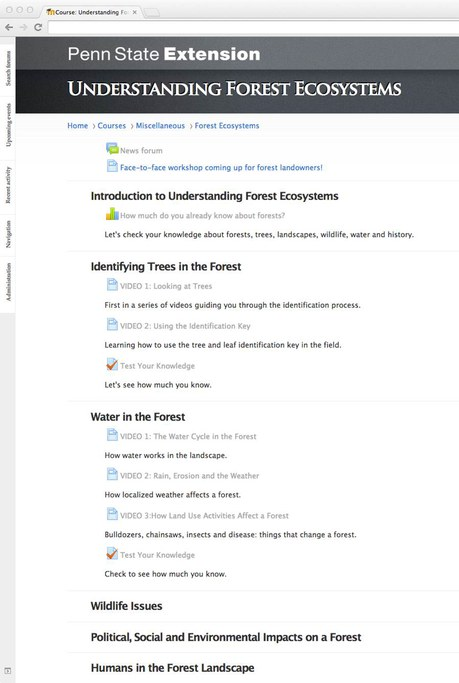 Screenshot of Online Training Website