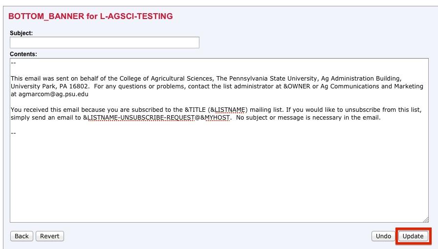 LISTSERV Screen Shot - Paste Text