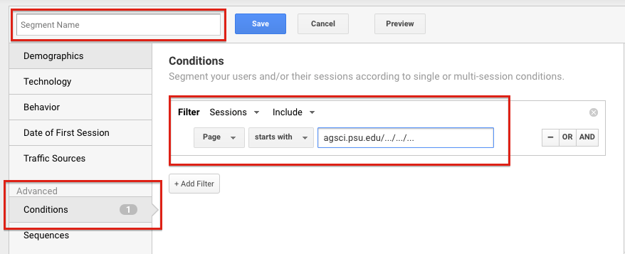 Google Analytics: Segment Name and Condition
