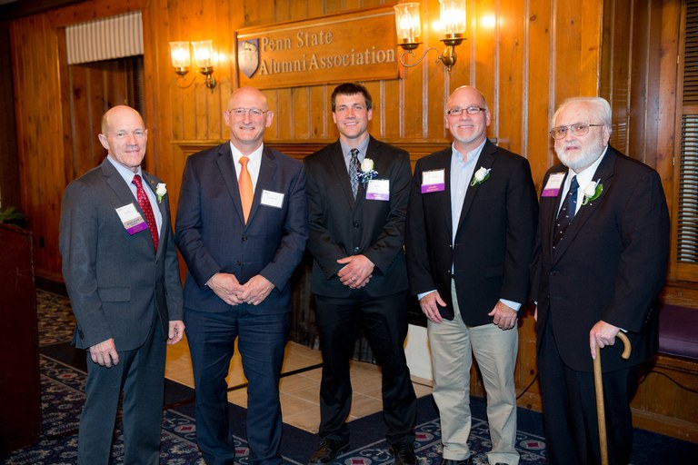 From left: David Dell, Dean Rick Roush, Joel Krall (Outstanding Recent Alumni Honoree), Fred Metzger, and Barry Flinchbaugh