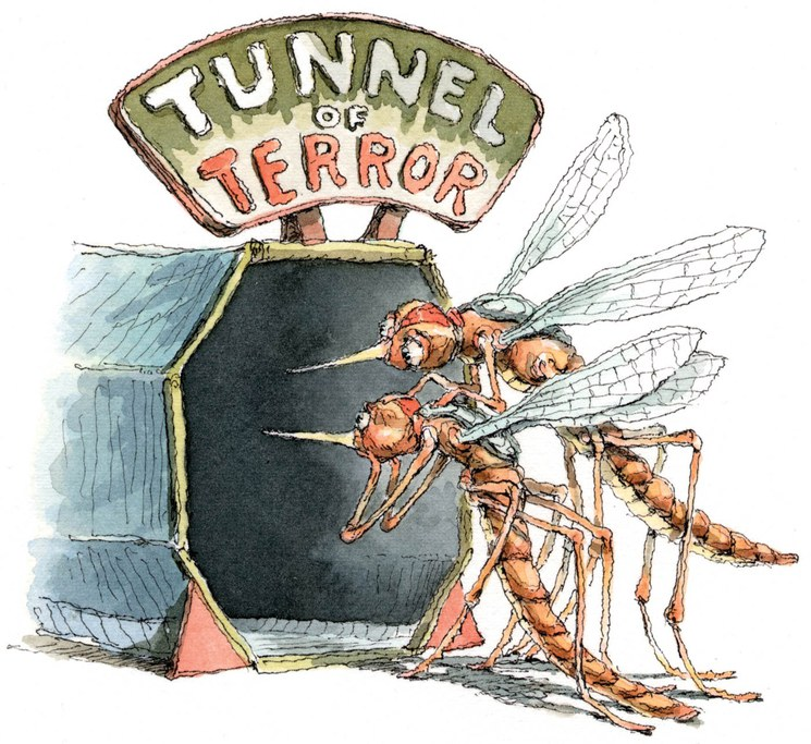 Tunnel of Terror, with two frightened mosquitos
