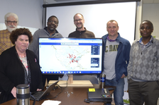 From left are Sarah Pethbridge, Cornell University; Scott Isard, Penn State University; Pierce Paul, Ohio State University; Paul Esker, Penn State University; Neil McRoberts, University of California-Davis; Peter Ojiambo, North Carolina State University.