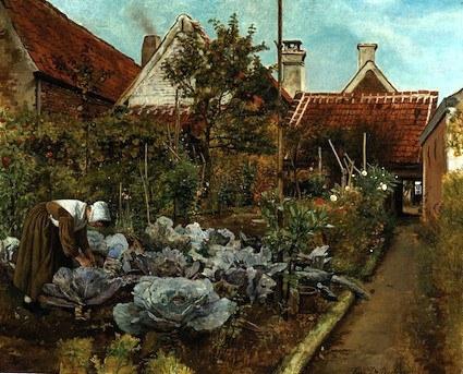 A Flemish Kitchen Garden: La Coupeuse de Choux, by Henri De Braekeleer (1840-88), ca. 1864 (painted), oil on canvas, Place of origin: Antwerp (possibly, painted)