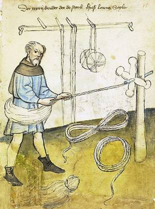 Historic textile making drawing