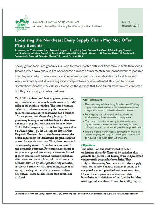 Cover of printer-friendly PDF version of Dairy Localization brief.