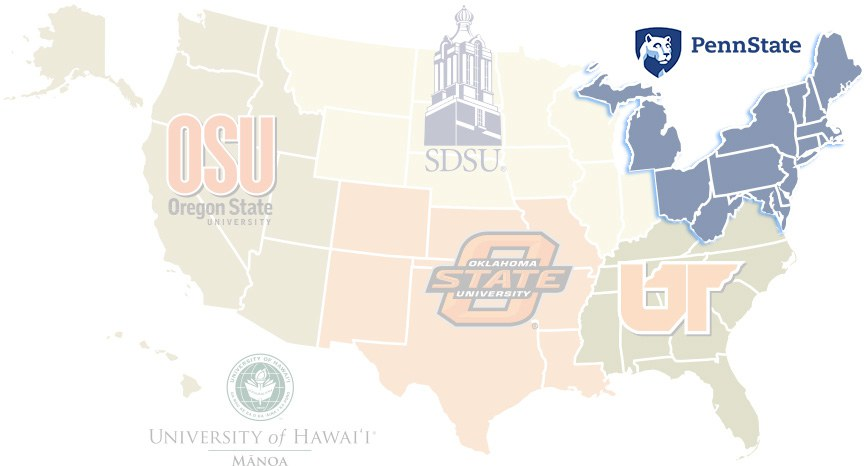 United States map showing universities involved by region